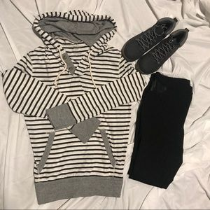 AMERICAN EAGLE Striped Pullover Hoodie
